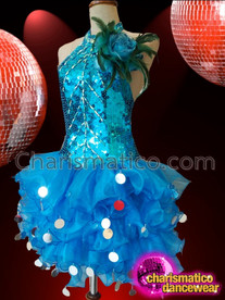 CHARISMATICO Feather Accented Blue Sequin Diva Dress With Tulle Ruffle Skirt