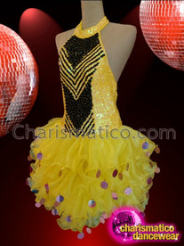 CHARISMATICO Black Accented Yellow Sequin Diva Dress With Tulle Ruffle Skirt