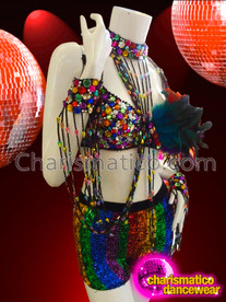 CHARISMATICO Rainbow Crystal Bra With Sequin Shorts And Matching Cuff Necklace