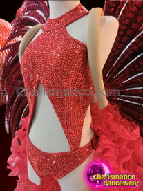 CHARISMATICO Silver Accented Ruby Red Crystal Leotard And Feathered Accessory Set