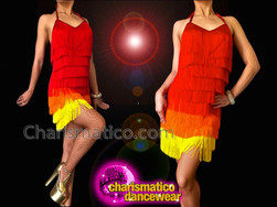 CHARISMATICO Summery Red To Yellow Fringe Diva's Salsa Latin Dance Dress