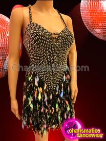 CHARISMATICO Sleek Black Sequin Latin Dance Dress With Diamond-Sequin Fringe Skirt