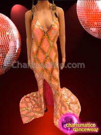 CHARISMATICO Sleek Peachy Orange Sequin Pageant Gown With Gold Lattice Design