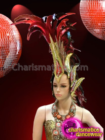 CHARISMATICO Gold And Red Glitter Covered Commandingly Large Feathered Mohawk Headdress