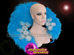 CHARISMATICO Small Sky Blue Feather Collar Style Backpack With Silver and Crystal