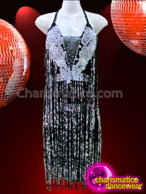 CHARISMATICO Halter Style Black and Silver Sequin Fringe Dress With Silver Lace