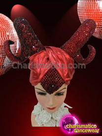 CHARISMATICO Satin Turbaned Ruby Red Crystal Encrusted Maleficent Ram Horn Headdress