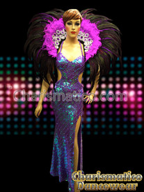 PURPLE PAGEANT DRAG QUEEN CABARET Feather HEADDRESS COSTUME SET
