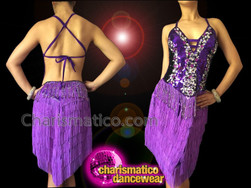 CHARISMATICO Sexy Purple Fringe Crystal Sequin Halter Style Latin Dance Dress