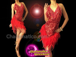 CHARISMATICO Sexy Red Feather Accented Sequin Halter Style Latin Dance Dress