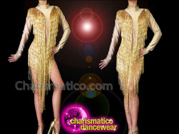 CHARISMATICO Nude Illusion Based Long Beaded Fringe Cher Inspired Diva Dress
