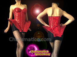 CHARISMATICO Zipper Front Ruby Red Sequined Gaga Inspired Long Hip Corset
