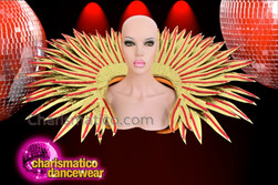 CHARISMATICO Drag Queen's Red Sequin Accented Golden Glitter Spiked Backpack Collar
