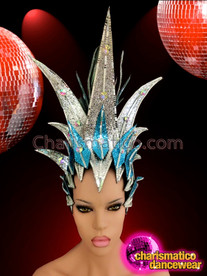 CHARISMATICO Drag Queen Crystal Accented Blue And Silver Glitter Diva Headdress