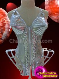 CHARISMATICO Two Tone Glittery Silver Shiny Quilted Vinyl Gaga Diva Corset