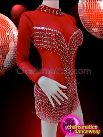 CHARISMATICO Long Sleeve Silver And Red Beaded Fringe Salsa Dance Dress