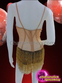 CHARISMATICO Black And Crystal Accented Corset Look Beaded Fringe Nude Leotard