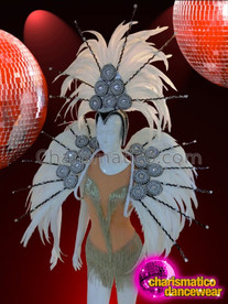 CHARISMATICO White Feather Showgirl's Headdress And Matching Backpack Collar Costume Set