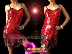 CHARISMATICO Red Sequin Salsa Dress With Beaded Fringe And Black Trim
