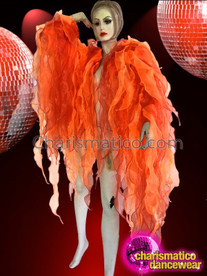 CHARISMATICO Orange And Red Flame-Ruffle Shimmering Organza Tissue Drag Queen Jacket