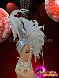CHARISMATICO Cute Asymmetrical White Pleasant Pheasant Feather Diva Showgirl Cabaret Headdress