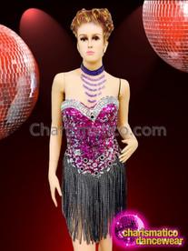 CHARISMATICO Diva's Intense Fuchsia Crystallized Corset Dress With Rhinestone Ribbon Fringe
