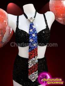 CHARISMATICO Awesome Unisex Metallic Red, White, And Blue Sequin Flag Necktie