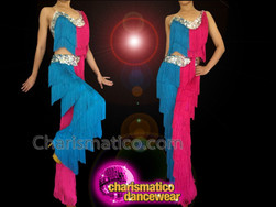 CHARISMATICO Diva Showgirl's Sexy Fuchsia And Blue Fringed Latin Dance Pantsuit