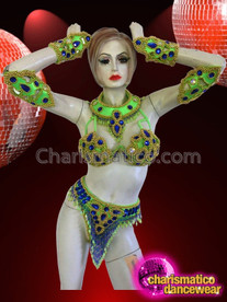 CHARISMATICO Fantastic Green Based Gold And Sapphire Beaded Brazilian Carnival Set