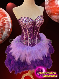 CHARISMATICO Purple Sequin Corset With Pale Crystals And Coordinated Feather Skirt