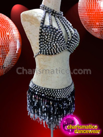 CHARISMATICO Silver Spiked Gothic Black Bra With Matching Sequin Fringed Skirt