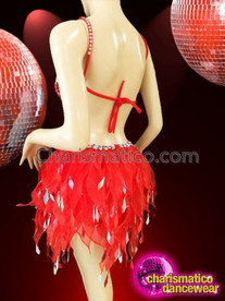 CHARISMATICO Halter Style Silver Accented Red Dance Dress With Organza Skirt