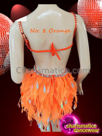 CHARISMATICO Halter Style Silver Accented Orange Dance Dress With Organza Skirt