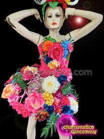CHARISMATICO Tropical Silk Flower Hot Pink Corset And Matching Skirt Set