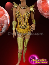 CHARISMATICO Multi Piece Golden Armor Costume Set With Black Jeweled Leotard