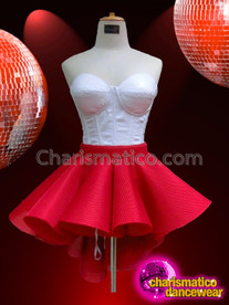 CHARISMATICO Soothing White Corset Top With Coordinated Red Asymmetrical Hem Skirt