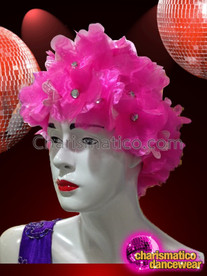 CHARISMATICO Bright Pink Shimmering Organza Flower With Iridescent Crystal Centers Cap