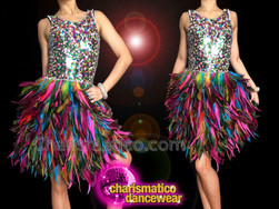 CHARISMATICO Hot Vibrant Multi-Color Rainbow Sequin And Feather Diva's Dance Dress