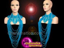 CHARISMATICO Shimmering Sky Blue Beaded Large Gothic Style Diva Cabaret Necklace