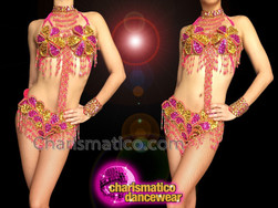 CHARISMATICO Exotic Beaded Fuchsia And Gold Showgirl's Bra With Matching Thong
