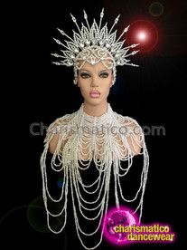 CHARISMATICO Delicate Spiked Shimmering Pearl Headdress And Matching Gothic Diva Necklace