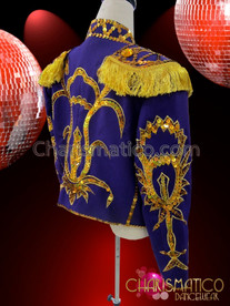 CHARISMATICO Men's Regal Purple Matador Jacket With Golden And Yellow Trim