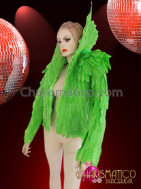 CHARISMATICO High Collared Rich Neon Green Soft Feather Diva's Cabaret Jacket