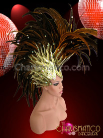 CHARISMATICO Golden Glitter Flame Based Brown Feather Drag Queen Mohawk Headdress