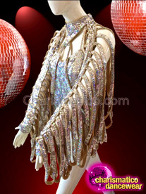 CHARISMATICO Bold Gold and Silver Sequined Leotard with Tasseled Long Sleeves