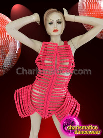 CHARISMATICO Neon Pink Diva Exoskeleton Geometrical Dress with Front Zipper