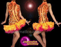 CHARISMATICO Sequin Backless Layered Orange Mambo Evening Dress with High Collar