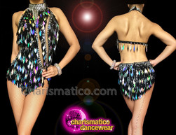 CHARISMATICO Black Front Slit Leotard with Diamond Sequins and Detachable Collar