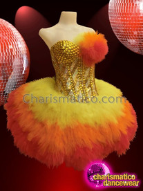 CHARISMATICO Strapless Gold Studded Corset with Orange, Yellow,Red Feather Skirt