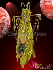 CHARISMATICO Greenish golden colored headdress with three layers for an added zing